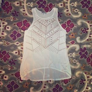 High neck white tank top, gold embellishments